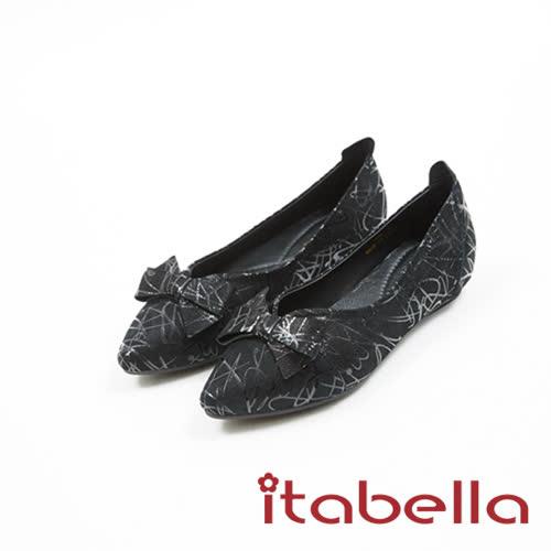itabella.時尚造型蝴蝶結尖頭鞋(7586-91黑)