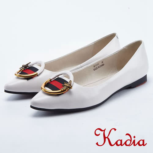 kadia.金屬拼接圓形飾釦點綴羊皮尖頭鞋(8012-01白色)