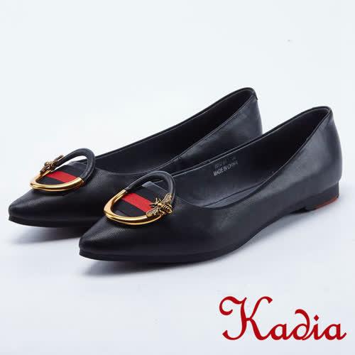kadia.金屬拼接圓形飾釦點綴羊皮尖頭鞋(8012-91黑色)