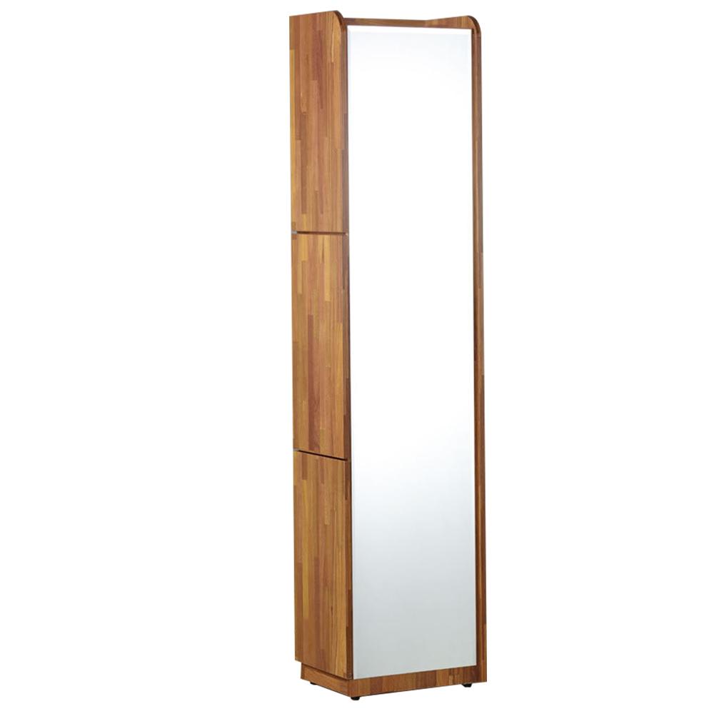 【AT HOME】現代時尚1尺集層柚木角落立鏡櫃/化妝櫃/化妝台[含椅](30*40*182cm)艾麗斯