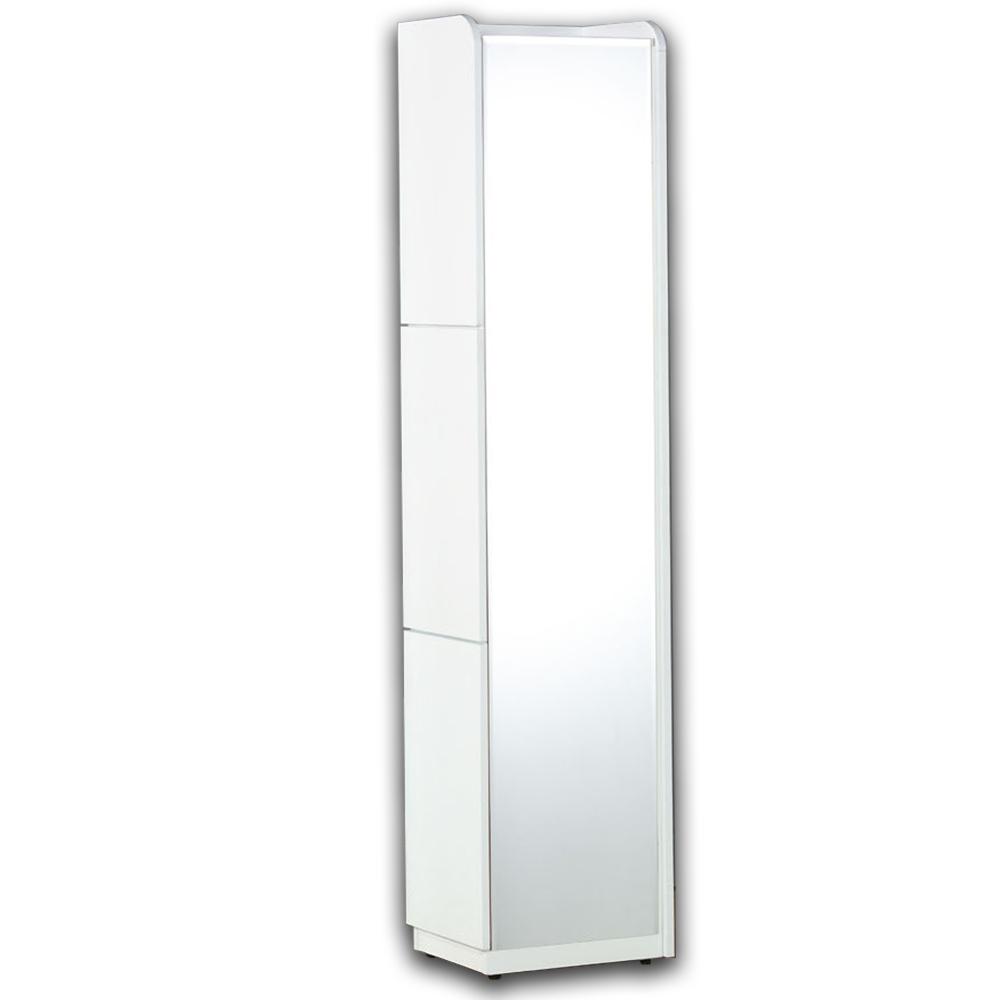 【AT HOME】現代時尚1尺白色角落化粧台立鏡櫃/化妝櫃/化妝台[含椅](30*40*182cm)艾麗斯