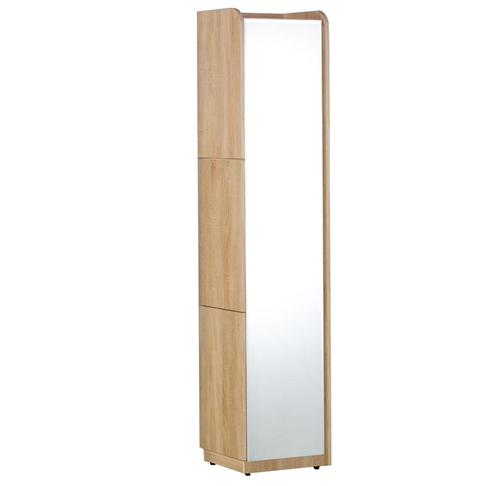 【AT HOME】現代時尚1尺橡木色角落立鏡櫃/化妝櫃/化妝台[含椅](30*40*182cm)艾麗斯