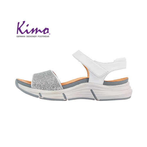 【Kimo 德國手工氣墊鞋】簡約造型設計寬楦羊皮楔型涼鞋(純淨白K18SF132010)