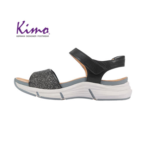 【Kimo 德國手工氣墊鞋】簡約造型設計寬楦羊皮楔型涼鞋(暗夜黑K18SF132013)
