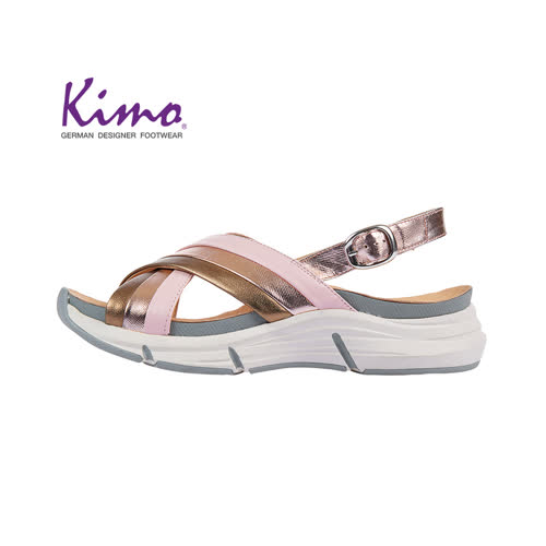 【Kimo 德國手工氣墊鞋】交叉造型設計寬楦羊皮楔型涼鞋(古銅金K18SF132025)