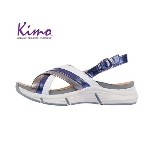 【Kimo 德國手工氣墊鞋】交叉造型設計寬楦羊皮楔型涼鞋(運動藍K18SF132026)