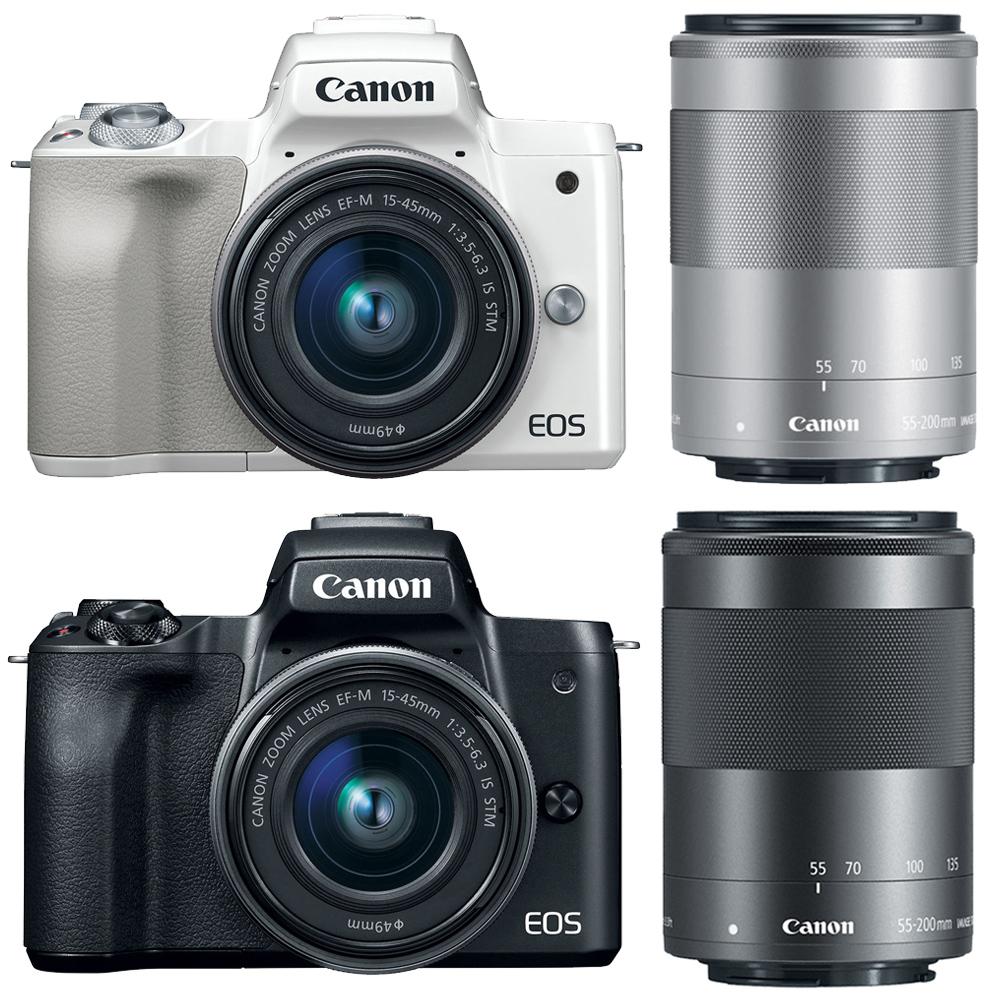 Canon EOS M50 15-45mm+55-200mm 雙鏡組(公司貨).-送64G記憶卡+相機包+強力吹球+清潔筆+擦拭布+UV保護鏡(49mm)+UV保護鏡(52mm)