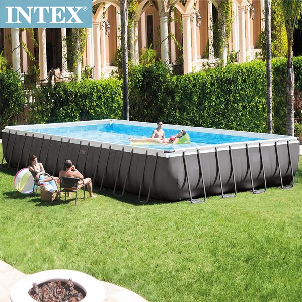 【INTEX】長方型框架速搭大型游泳池 附砂濾水泵 975x488x132cm  5436