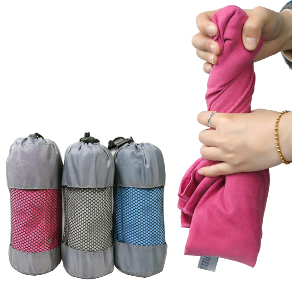 PUSH! 戶外休閒用品速乾浴巾 毛巾沙灘巾洗澡毛巾擦汗巾一入S48-1玫紅