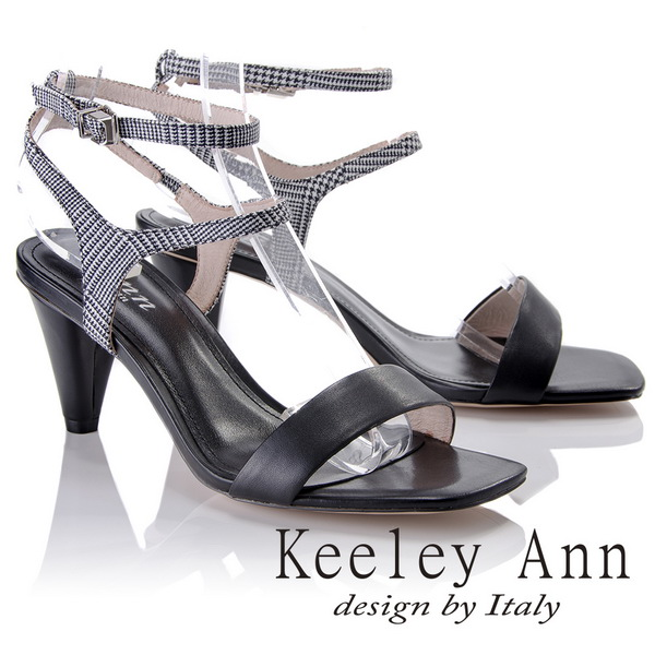 Keeley Ann摩登 ~格紋雙腳踝帶真皮軟墊高跟涼鞋 黑色822687310~Ann系