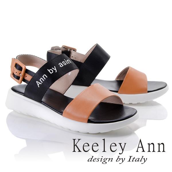 Keeley Ann韓式風潮~雙色寬帶英文字樣平底涼鞋 棕色822687125~Ann系列