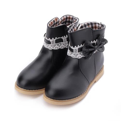 DOOK 蕾絲蝴蝶結短靴 黑 中童鞋 鞋全家福