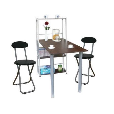 環球- [120公分寬]4 層置物架型-胡桃木色餐桌椅組(一桌二椅) (台灣製造)