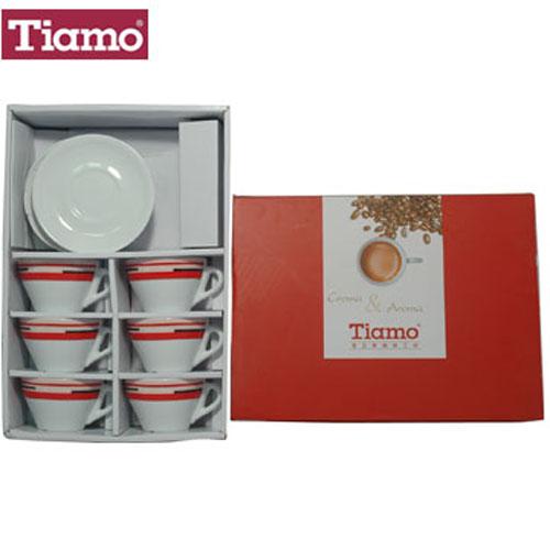 Tiamo 卡布杯盤組150cc(線條)6客組(HG3334)