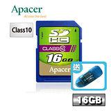 Apacer宇瞻 16GB SDHC Class10記憶卡-送卡姆碟