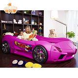【寶貝樂】夢幻快車豪華兒童床組-粉色 附高密度天然乳膠床墊