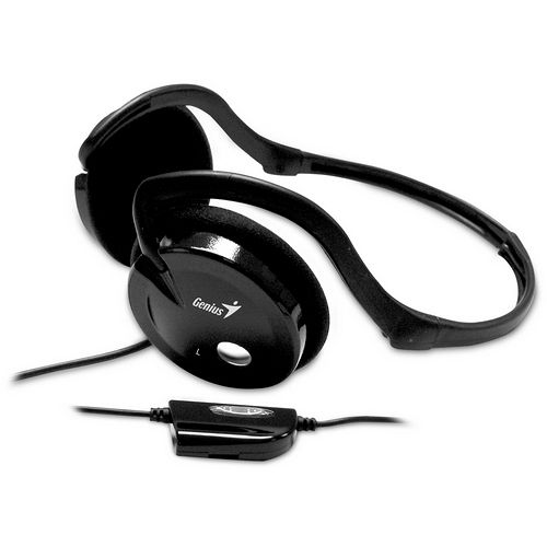 Genius HS-02I 折疊頸帶式耳機麥克風(黑色)