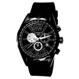 CERRUTI 1881 究極話題三眼計時腕錶(全黑/橡膠)