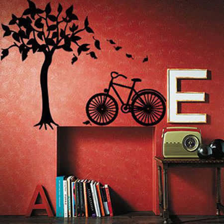 【ECO World 】進口壁貼-GPS-樹與腳踏車