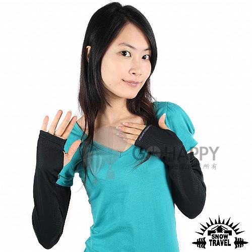 SNOWTRAVEL 平口抗UV遮陽冰涼袖套 2雙(黑色)