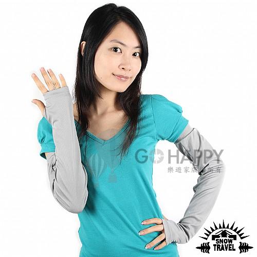 SNOWTRAVEL 平口抗UV遮陽冰涼袖套 2雙(灰色)