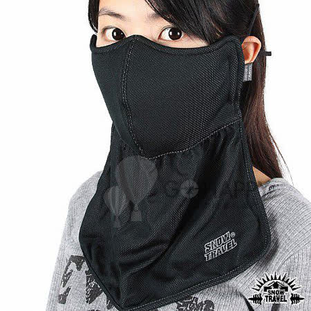 SNOWTRAVEL 抗UV遮陽護頸透氣口罩 2入(黑色)