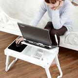 【LIFECODE】爵士-折疊筆記型電腦桌/床上桌-附風扇.LED燈.USB擴充槽 (白色)