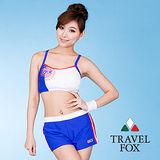 【TRAVELFOX 旅狐】夏日風短版三件式泳衣C5705-L
