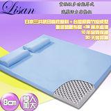 Lisan 8公分貴族級竹碳微粒子厚式減壓活力床墊組-標準加大--藍