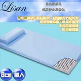 Lisan 8公分高規格厚式減壓活力床墊組-藍—單人