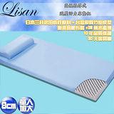 Lisan 8公分高規格厚式減壓活力床墊組-藍—單人加大