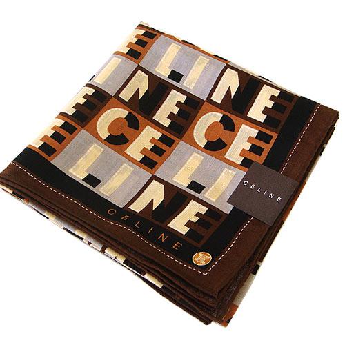 CELINE咖啡三色字母大帕巾