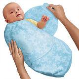 美國 Summer Infant SwaddleMe【刷毛絨布厚款 - 藍色星星】, 小號 - 可調式懶人包巾