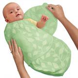 美國 Summer Infant SwaddleMe【刷毛絨布厚款 - 綠色葉子】, 小號 - 可調式懶人包巾