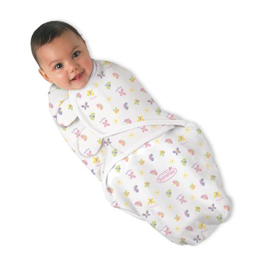 美國 Summer Infant SwaddleMe【純棉薄款 - 小蝴蝶】, 小號 - 可調式懶人包巾
