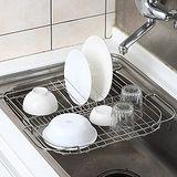 ◤碗盤蔬果瀝水◢不鏽鋼水槽專用伸縮收納架
