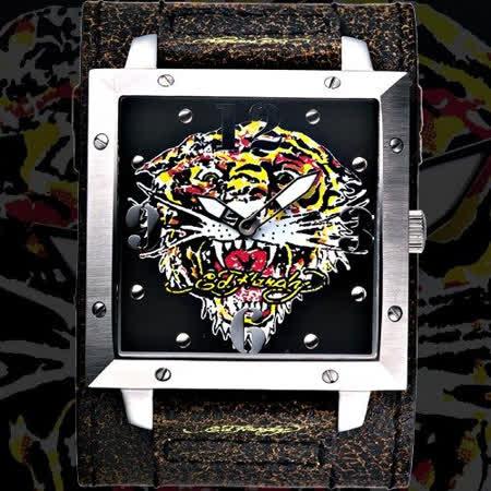 ~Ed Hardy~猛虎吼刺青寬版仿舊皮帶錶