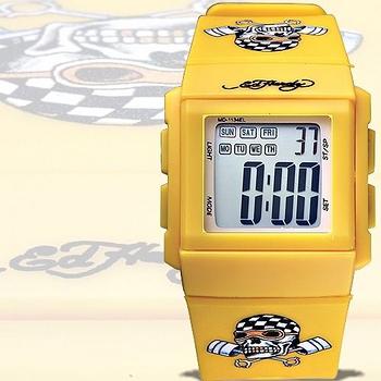 【Ed Hardy】活塞飆速骷髏刺青圖電子錶