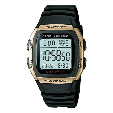CASIO 城市個性休閒電子錶(金框)