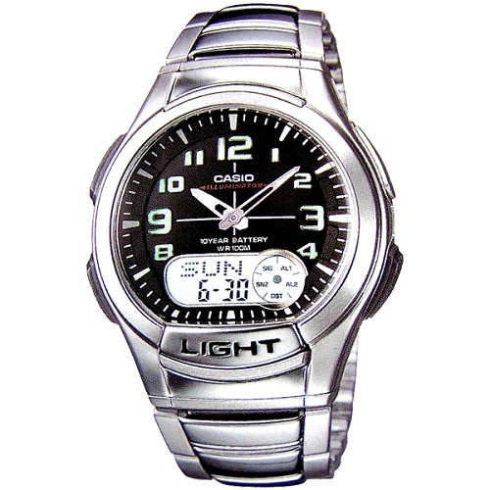 CASIO 時尚雙顯商務休閒錶(黑)