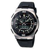 CASIO 城市遊俠運動膠帶雙顯錶(黑)