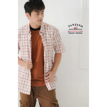【FANTINO】奧地利進口素材KAPOK棉格紋襯衫(紅格)034508