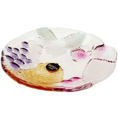 【任選】日本SOGA玻璃彩色葡萄小盤(A1579S)