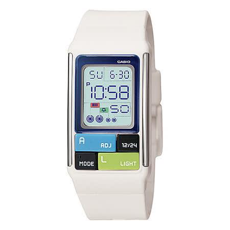 CASIO 潮流個性多彩電子錶(白)