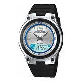 CASIO FISHING GEAR戶外休閒雙顯錶(銀白/膠帶)