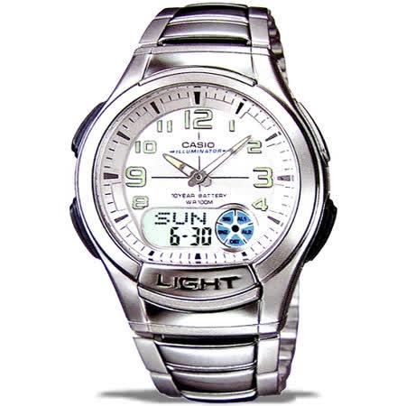 CASIO 時尚雙顯商務休閒錶(銀白)