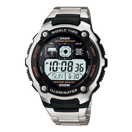 CASIO 勁戰潛武者運動電子錶(鋼帶)