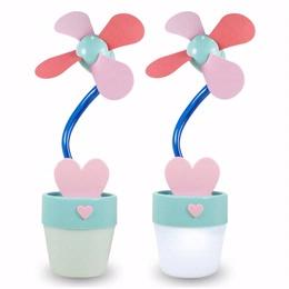 USB 小花盆造型涼風扇 附小夜燈及收納罐功能 ★粉藍花盆★