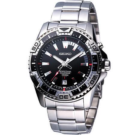 SEIKO 時尚主義萬年曆運動錶(6A32-00S0D)-黑