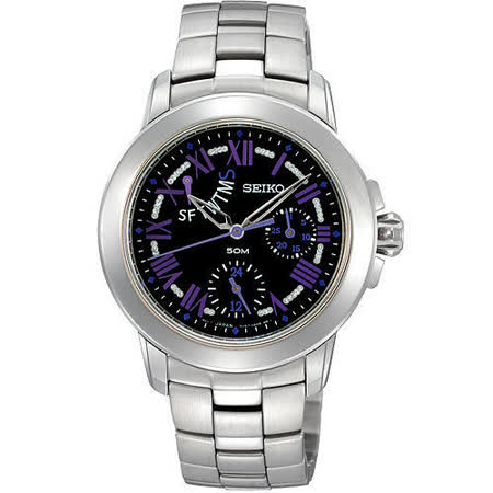 SEIKO Criteria日曆腕錶(5Y67-0AV0D)-銀/紫時標